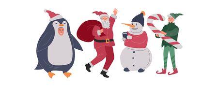 Christmas holiday set with Santa, elf, penguin and snowman. New Year greeting card. Winter festive Vector cartoon illustration