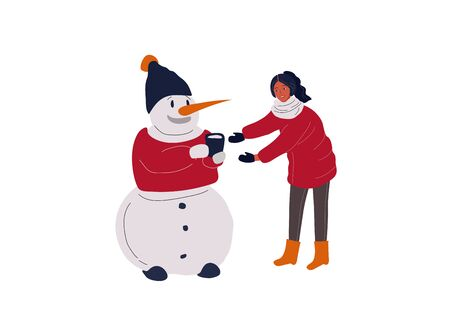Christmas holiday Snowman which give cacao to girl . New Year greeting card. Vector cartoon illustration