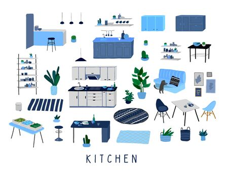 Set for kitchen or dining room with stylish comfy furniture and modern home decorations in trendy Scandinavian or hygge style. Cozy Interior furnished home plants. Flat cartoon vector illustration