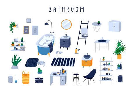 Set for bathroom with stylish comfy furniture and modern home decorations in trendy Scandinavian or hygge style. Cozy Interior furnished home plants. Flat cartoon vector illustration