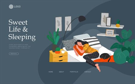 Landing page template with Sweet girl sleeping in bed with relaxing white cat . Daily life and everyday routine scene by young woman in scandinavian style cozy interior bedroom. Cartoon vector illustration.