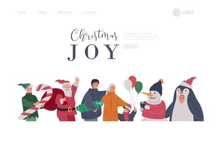 Landing page template with Christmas and New Year holiday set with Santa, elf, penguin and snowman portrait photo with happy family. Mother father with children with animator in christmas costume Illustration