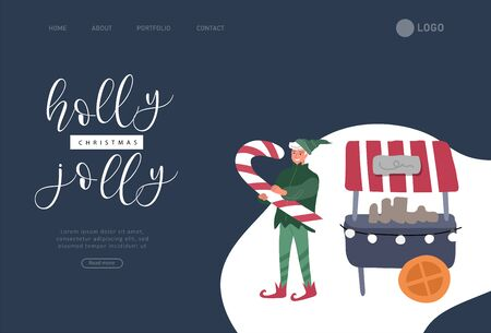 Landing page template with Christmas and New Year holiday elf portrait photo with big candy. Animator in christmas costume. Christmas winter fair. Cartoon vector illustration