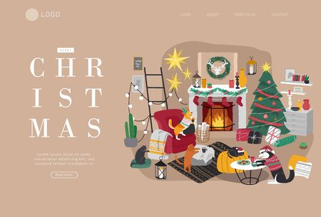 Landing page template or Card with Christmas home decorations with pets. Scandinavian interior with cat, dog dressed in costumes. Illustration and New year typography in Hygge style