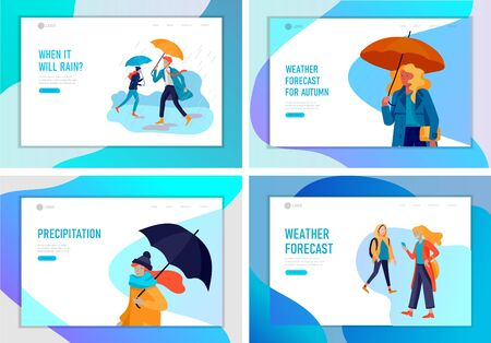 Landing page template for weather forecast. People character in various weather conditions, in seasonal clothes, enjoys walking on street in rain, snowfall, summer heat. Vector cartoon illustration
