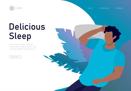Sleeping character landing page template. The boy sleeps in bed alone in different poses, different poses during a night sleep. View from above. Colorful vector illustration.