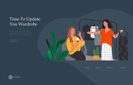 Landing page template with Girls choose outfits in wardrobe, drink wine and laugh, shopping and relaxing. Daily life and everyday routine scene in scandinavian style cozy interior. Cartoon vector illustration