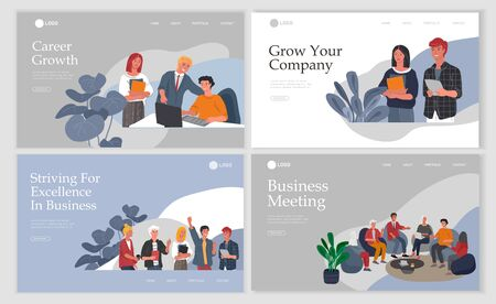 Business Landing page template with Office workers communicating or talking to client or conversations between teamwork or meeting, brainstorming. Vector cartoon concept illustration for business