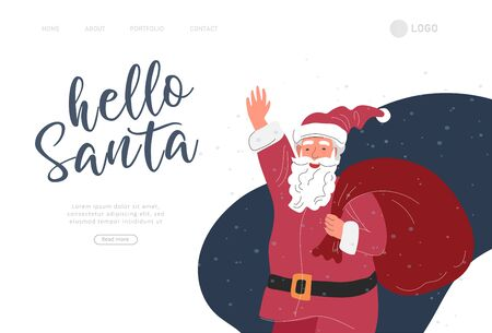Landing page template with Christmas and New Year holiday set with Santa. Christmas winter fair. Cartoon vector illustration