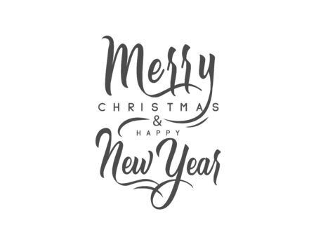 Merry Christmas and happy New Year set with lettering typographic composition for the poster and greeting card. Calligraphy for winter holiday. Vector illustration Illustration