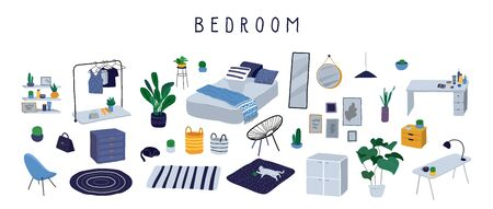 Set for badroom with stylish comfy furniture and modern home decorations in trendy Scandinavian or hygge style. Cozy Interior furnished home plants for sleeping. Flat cartoon vector illustration