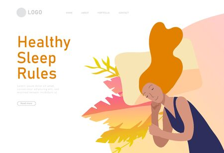 Sleeping character girl landing page template. The woman sleeps in bed alone in different poses, different poses during a night sleep. View from above. Colorful vector illustration.