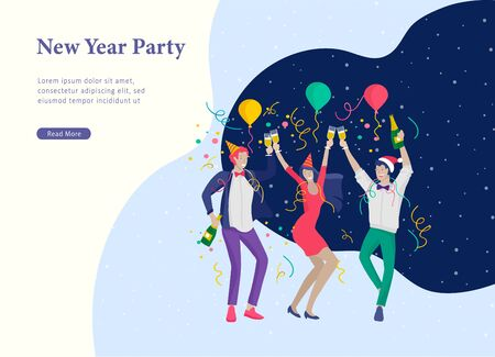 Landing page template or card winter Holidays corporate Party. Merry Christmas and Happy New Year Website with People Characters. Company of young friends or colleagues celebrates Illusztráció