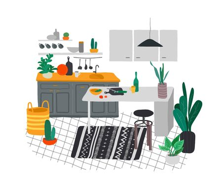 Scandinavian or Nordic style kitchen interior. Hand drawing scandinavian, style cozy interior with houseplants. Cartoon vector Ilustração