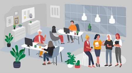 Office interior with group workers communicating or talking to client or conversations between teamwork at workplace. Vector cartoon concept illustration for business, finance, cover or banner  イラスト・ベクター素材