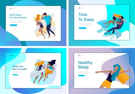 Landing page template sleeping people character. Family with child are sleep in bed together and alone in various poses, different postures during night slumber. Top view. Colorful vector illustration