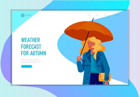Landing page template for weather forecast. Various stylish people character go on street under umbrellas in warm clothes. Autumn or spring rainy weather. Colored trendy cartoon vector illustration  イラスト・ベクター素材