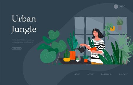 Landing page template with Girl caring for house plants in urban home garden with cat. Daily life and everyday routine scene by young woman in scandinavian style cozy interior. Cartoon vector illustration. 向量圖像