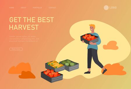 Landing page template with People gathering crops or seasonal harvest, collecting ripe vegetables. Men, women work on a farm. Agricultural workers in autumn. Cartoon vector illustration