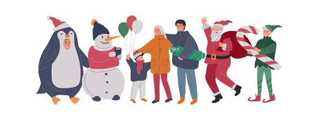 Christmas and New Year holiday set with Santa, elf, penguin and snowman portrait photo with happy family. Mother father with children with animator in christmas costume. Vector cartoon illustration