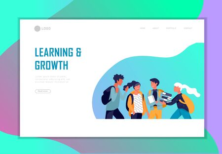 Landing page template with Back to school flat vector illustration. Preteen and teenage schoolkids. Schoolmates, friends cartoon characters. Schoolboys and schoolgirls