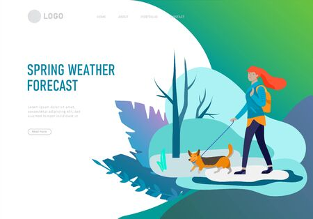 Landing page template for weather forecast. Various stylish woman or people character go on street under in warm clothes. Good weather or melting snow . Colored trendy cartoon vector illustration