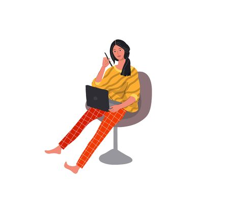 Beautiful girl in daily life scene. Young woman working at laptop with pen. Flat cartoon vector illustration