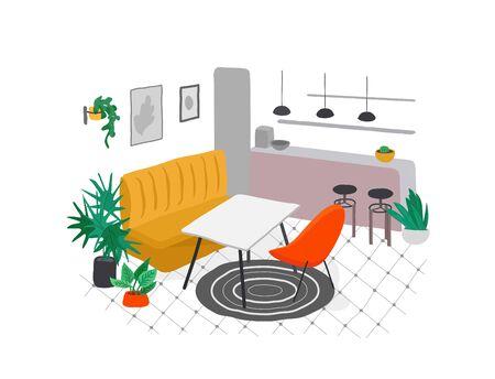 Scandinavian or Nordic style kitchen interior. Hand drawing scandinavian, style cozy interior with homeplants. Cartoon vector 일러스트