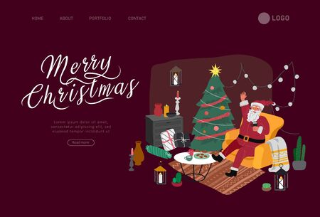 Landing page template or Card with Christmas home decorations with Santa Claus and pets. Scandinavian interior with cat, dog dressed in costumes. Illustration and New year typography in Hygge style
