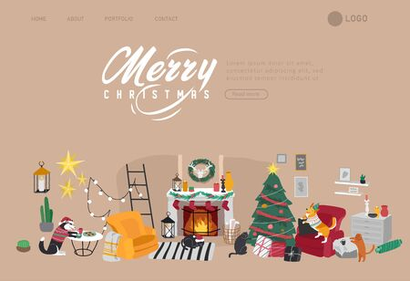 Landing page template or Card with Christmas home decorations with pets. Scandinavian interior with cat, dog dressed in costumes. Illustration and New year typography in Hygge style Illusztráció