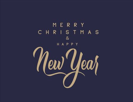 Merry Christmas and happy New Year set with lettering typographic composition for the poster and greeting card. Calligraphy for winter holiday. Vector illustration 向量圖像