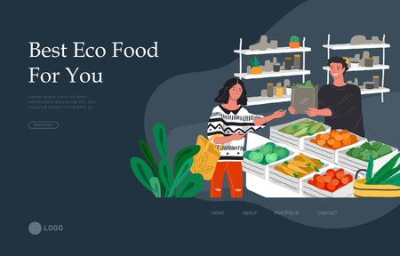 Landing page template with Girl grocery shopping healthy green eco food in a store or market. Daily life and everyday routine scene by young woman in scandinavian style cozy interior. Cartoon vector i
