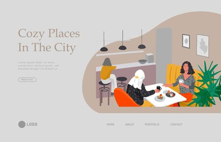 Landing page template with Girlfriends sitting in cafe or bar eating sweets, drinking coffee and talking. Daily life and everyday routine scene by young woman in scandinavian, style cozy interior. Cartoon vector illustration. Illusztráció