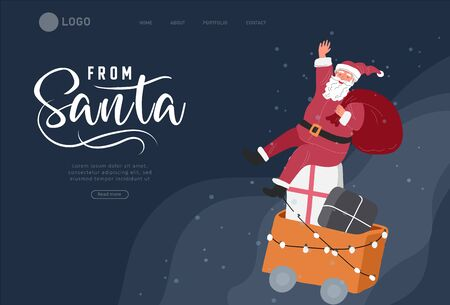 Landing page template with Christmas and New Year holiday set with Santa rides on holiday train with gifts. Christmas winter fair. Cartoon vector illustration