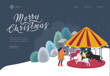Landing page template Christmas and New Year holiday fair. Mother takes photo of her child daughter riding a pony carousel. Winter festive isolated Vector cartoon illustration