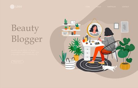 Landing page template with Girl makes make up in front of a mirror for skin care and beauty blogging. Daily life and everyday routine scene by young woman in scandinavian style cozy interior. Cartoon vector illustration