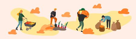 People gathering crops or seasonal harvest, collecting ripe vegetables, picking fruits and berries, remove leaves. Men, women work on a farm. Agricultural workers in autumn. Cartoon vector illustration