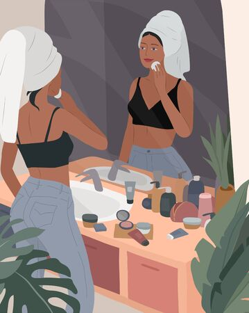 Cute girl with towel on head care for her skin after bathing, cleanses face and makeup. Feminine Daily life by young woman in bathroom interior with homeplants. Cartoon vector illustration