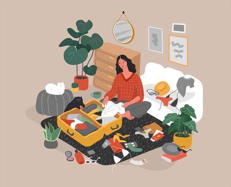 Linda chica con gato en el acogedor interior de una casa escandinava empacando su maleta y preparándose para viajar. Viajero feliz preparándose para las vacaciones de verano. Ilustración de vector colorido de dibujos animados Ilustración de vector
