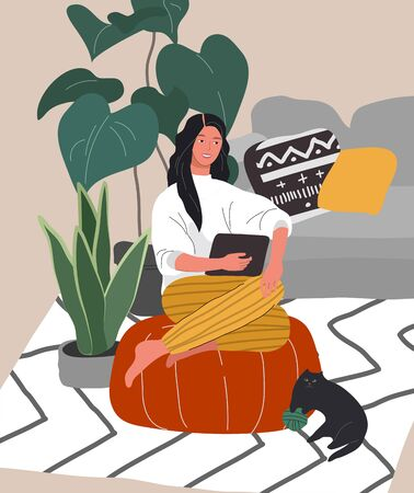 Cute woman sitting with laptop in cozy scandinavian home interior. Gadget addiction concept. Girl spending time online. Daily life of social media networks user. Cartoon vector illustration
