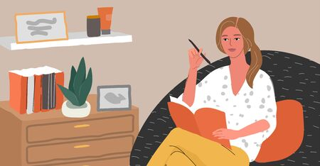 Psychologist woman advises with psychological problems, psychotherapy, mental disorder. Consultant sitting in armchair in scandinavian home interior. Caroon vector Illustration