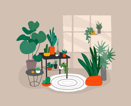 House plants in urban home garden with cat. Scandinavian or Nordic style living room interior. Hand drawing style cozy interior with homeplants. Cartoon vector illustration.