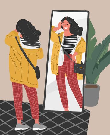 Cute young woman in casual trendy clothes looking at mirror in scandinavian interior. Concept of Feminine Self confidence, love and acceptance yourself. Attractive girl character reflection in mirror
