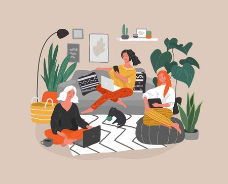 Cute girlfriends sitting with laptop in cozy scandinavian home interior. Gadget addiction concept. Girls spending time online. Daily life of social media networks user. Cartoon vector illustration