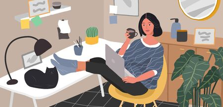 Freelancer designer girl working in nordic style home office with cat. Daily life and everyday routine scene by young woman in scandinavian style cozy interior with homeplants. Cartoon vector illustration.