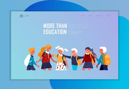 Landing page template with Back to school flat vector illustration. Preteen and teenage schoolkids. Schoolmates, friends cartoon characters. Schoolboys and schoolgirls Illustration