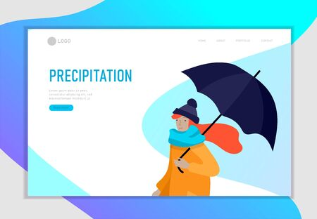 Landing page template for weather forecast. Various stylish people character go on street under umbrellas in warm clothes. Autumn or spring rainy weather. Colored trendy cartoon vector illustration 向量圖像