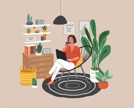 Nette Frau, die auf Stuhl mit Laptop im gemütlichen skandinavischen Wohninnenraum sitzt. Mädchen, das zu Hause im Home Office arbeitet. Alltag des Freiberuflers, Alltag. Cartoon-Vektor-Illustration