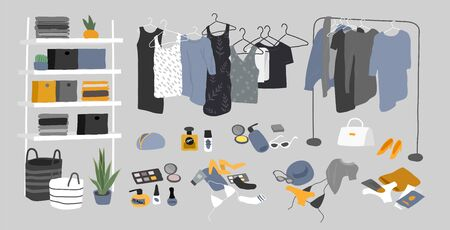 Zestaw rzeczy do garderoby. Szafa garderoba w środku. Różne torby, buty, kosmetyki i modne ubrania. Rzeczy wewnętrzne w stylu skandynawskim. Ręcznie rysowane pojedyncze elementy. Kreskówka wektor