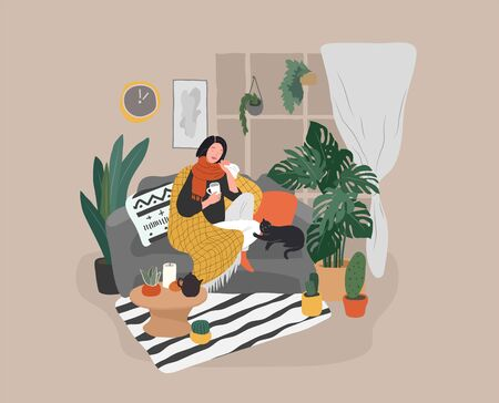 Girl caught a cold flu or virus on couch with cat and tea. Young woman is sick and cough at home scandinavian style cozy interior with homeplants. Cartoon vector illustration